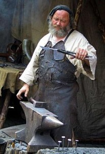 blacksmith next to an anvil