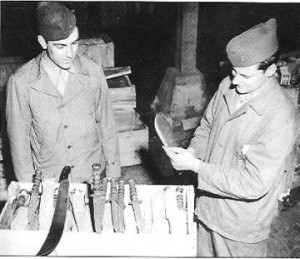 WWII photo of a knife inspection