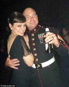 Mila Kunis with SGT Moore at the USMC Ball 2011